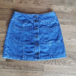 Free People Denim Miniskirt Faded Button Up 4